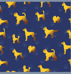 seamless pattern with yellow gold dogs on dark vector image
