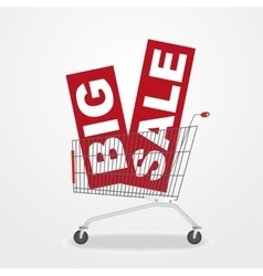 shopping cart with sale banners vector image vector image