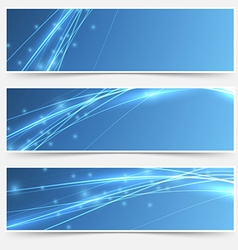 Speed swoosh electric wave lines header set vector image