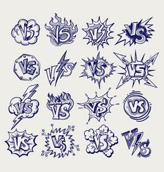 versus ballpoint pen sketch labels collection vector image vector image