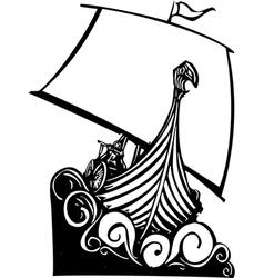 Viking Longship Sailing B vector image vector image