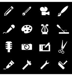 white art tool icon set vector image vector image