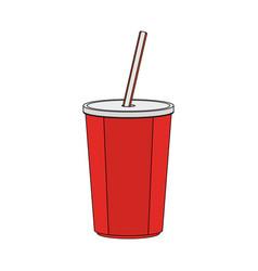 Color image cartoon plastic soda disposable cup vector