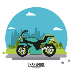 colorful poster of transport with motorcycle on vector image vector image