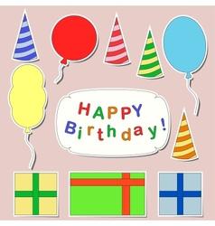 Happy birthday stickers set vector image vector image