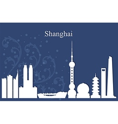 Shanghai city skyline on blue background vector image vector image