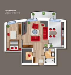 top view floor plan of the house room vector image