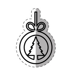 tree pine christmas line vector image