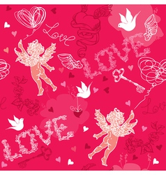 Valentines Day seamless pattern with Cupid vector image vector image