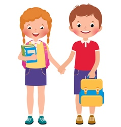 Children boy and girl pupils of the school vector image
