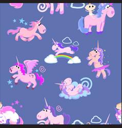 Cute unicorn seamless pattern magic pegasus vector