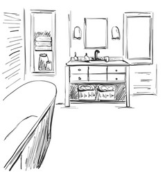 Hand drawn sketch of an interior part of the vector
