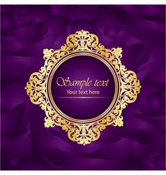 purple luxury square background gold frame roses vector image
