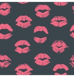 Seamless pattern with lipstick kisses vector image vector image