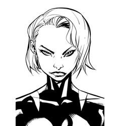 superheroine portrait line art vector image vector image