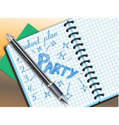 weekend plan drawing in notebooke vector image