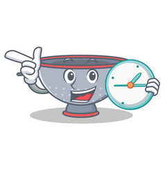 With clock colander utensil character cartoon vector