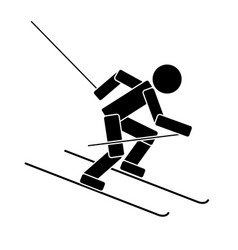 alpine skiing flat icon vector image