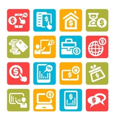 color finance icons set vector image vector image