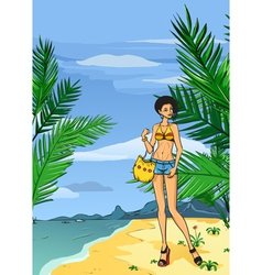 Girl in jeans on the beach vector image vector image