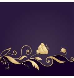 Golden floral ornament on purple background vector image vector image