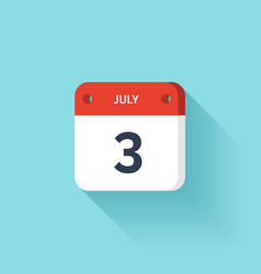 July 3 Isometric Calendar Icon With Shadow vector image vector image