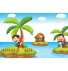 Monkeys at the beach vector image vector image