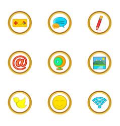 web surfing icon set cartoon style vector image vector image