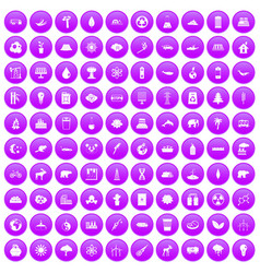 100 eco icons set purple vector