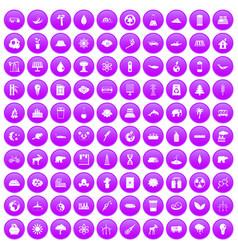 100 eco icons set purple vector