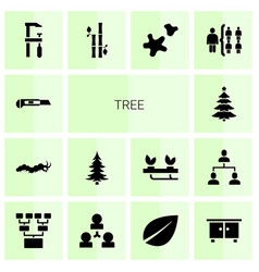 14 tree icons vector