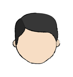 Avatar face man line cartoon vector