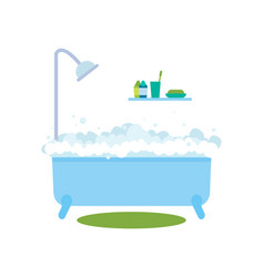 Bath with bubbles hot water vector