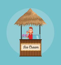 Beach kiosk cartoon vector
