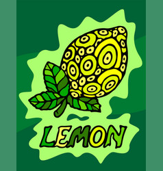 Beautiful yellow lemon with leaves vector