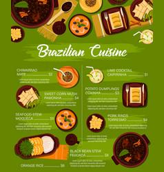 Brazilian cuisine meals menu template vector