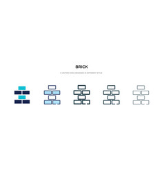 Brick icon in different style two colored and vector