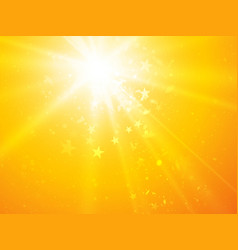 bright sunny rays background with stars vector image