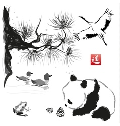 Card with cedar in the bird and panda bear vector image