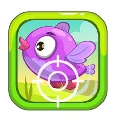 Cartoon app icon with funny bird vector image