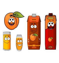 Cartooned apricot juice with glasses and apricot vector image