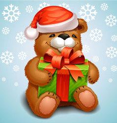 Christmas teddy bear vector