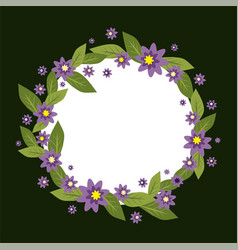 Circle frame made of flowers spring and vector