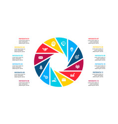 Circle infographic with 12 options or steps vector