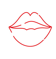 color line female fashion lips style vector image