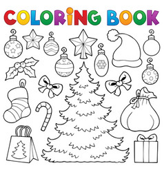 Coloring book christmas decor 1 vector