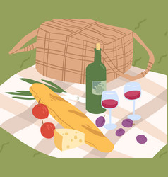 composition for outdoor picnic serving on blanket vector image