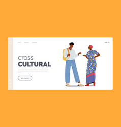 Cross cultural communication landing page template vector