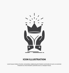 Crown honor king market royal icon glyph gray vector