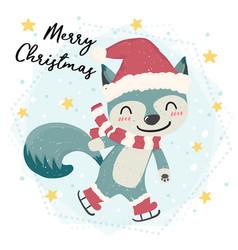 cute happy blue wild animal fox skating in snow vector image